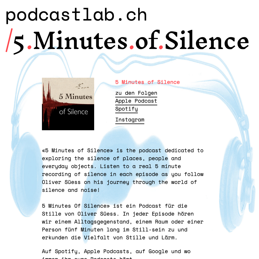 Screenshot of the 5 Minutes of Silence Page on podcastlab.ch